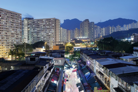 the night view of Ngau Chi Wan Market booths