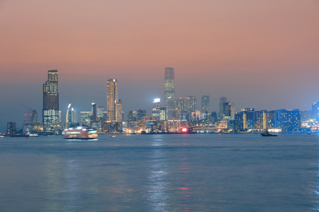 Perfect cityscape at magic hour time  kwoloon