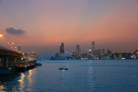 the after sun set of pier at north point 版權商用圖片
