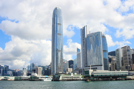 the Modern sky scrapers of the Hong Kong downtown Stock Photo