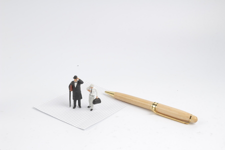 the fun of min business man stand with pen