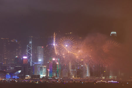 Fireworks show Victoria harbor in Hong Kong