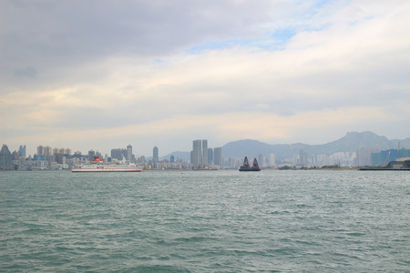 the Victoria Harbor of kwun tong to north point Stock Photo