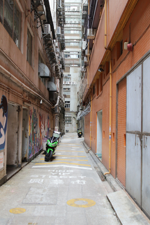 the Messy side alley in hong kong