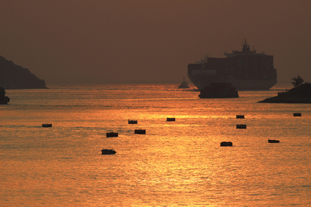 the sun set of Rambler Channel,  Hong Kong