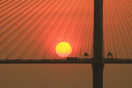 the sun set of the Ting Kau Bridge Stock Photo