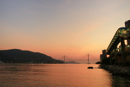 The sun set view at the Rambler Channel, Hong Kong Stock Photo