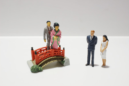 the model of japan style figure at the board
