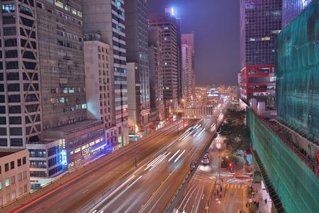 the CBD at night of central hong kong Editorial