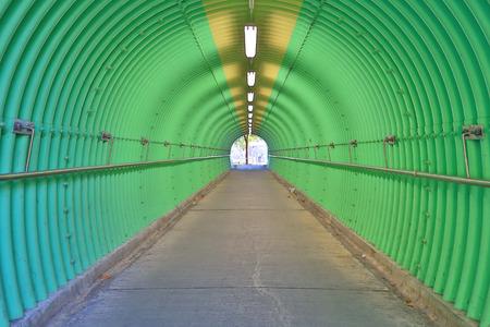La profundidad de la sensación de terror del túnel de color verde Foto de archivo - 93487921