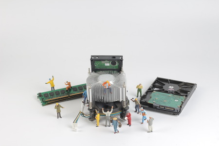 Group of engineer workers are installing CPU