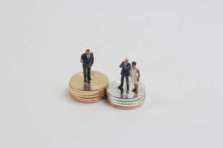 the business figure stand on the gold bitcoins.