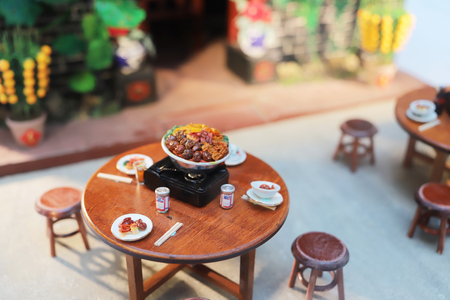 fun of Mini models display of old HK life