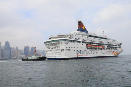 a modern business district and cruise ship, Hong Kong. Asia. Editorial