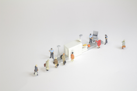 security check with isometric people in queue