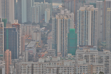 Downtown Kowloon Hong kong from the Beacon Hill.