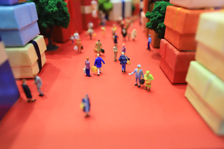 a fun of figure in miniature world 版權商用圖片