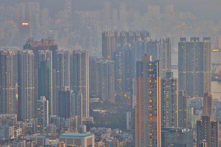 a Kowloon peninsula view from Beacon hill HK