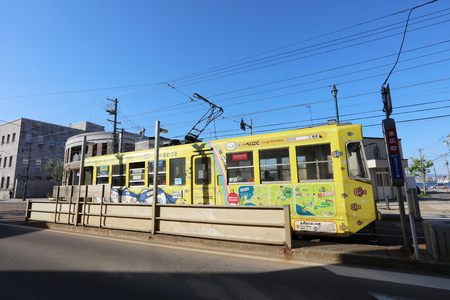 the Driver drives a colourful tram in Hakodate, Hokkaido, Japan 報道画像