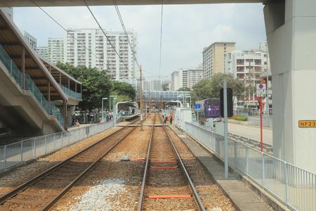 Hong Kong MTR Light Rail.  Tuen Mun District   Stock Photo