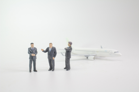 the business man stand before the plane 版權商用圖片