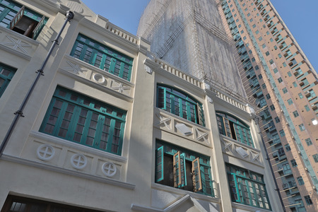 Exterior of Hong Kong old style house blue house Stock Photo