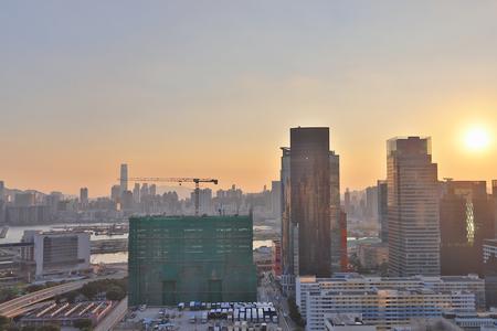 Facade of industrial building in Hong Kong city