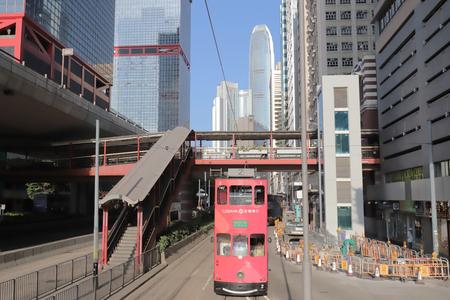 Double-decker tram in Hong Kong street