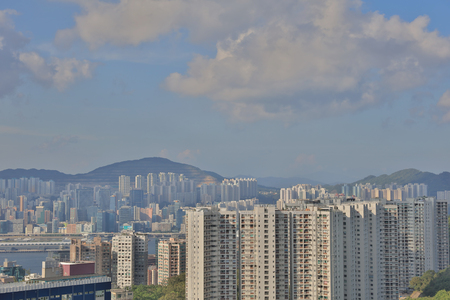 a City skyline at north point from Braemar hill  Editorial