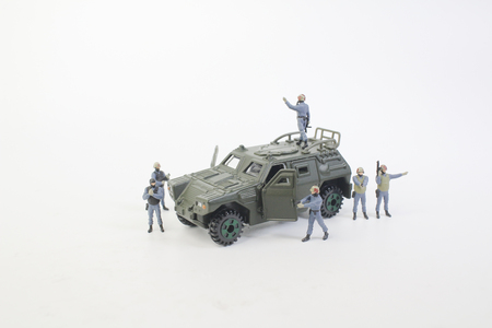 a tiny of army with the Armoreda tiny of army with the Armored     Stock Photo