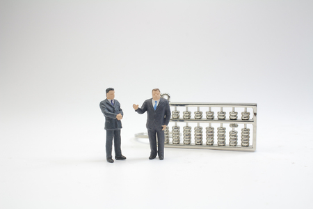 the mini of figure with the abacus 版權商用圖片
