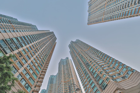 Tall apartment buildings in residential at kowloon Stock Photo