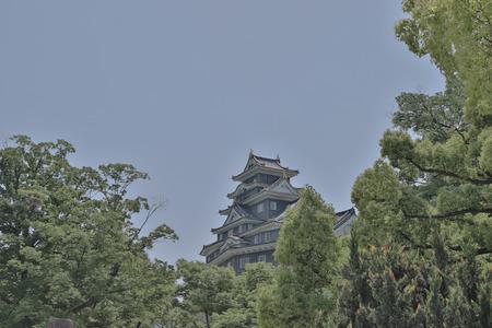 the castle tower at Okayama Castle japan