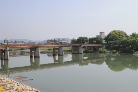 the area of asahi river at Okayama downtown Editorial