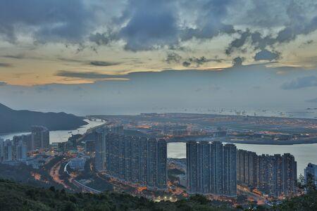 a view at Por Kai Shan of Tung Chung town Banco de Imagens