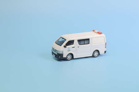 the toy van with figure isolated on back ground