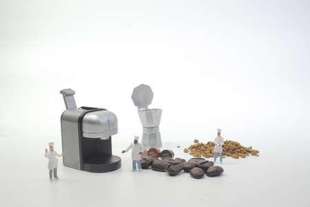 mini figures working on coffee at macro Stock Photo