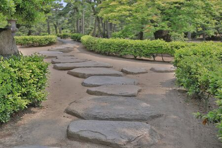 Stone path at the japan style garden