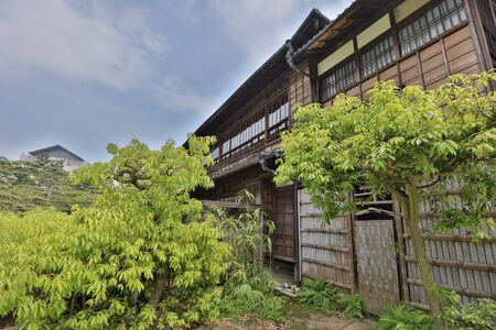 traditional Japanese garden in the park of Takamatsu