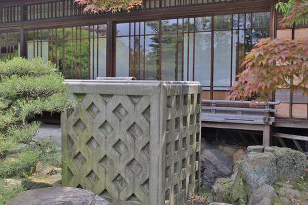 Japanese garden of Takamatsu castle in Takamatsu, 版權商用圖片