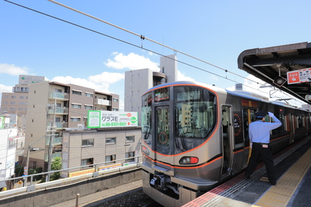 a View through tram window of Osaka Loop Line