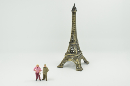 The figure with the scale Tower with Paris 版權商用圖片