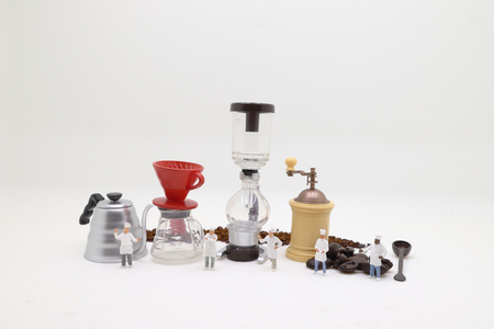 the tiny figure of Professional coffee maker