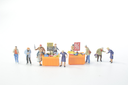 a Mini people Shoppers buy goods on sale