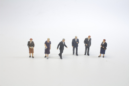Mini people Shoppers buy goods on sale with discount