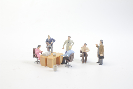 a mini business figure meeting on board