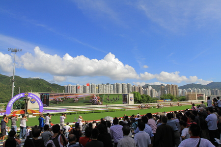 Horse racing at the Racecourse in a HK