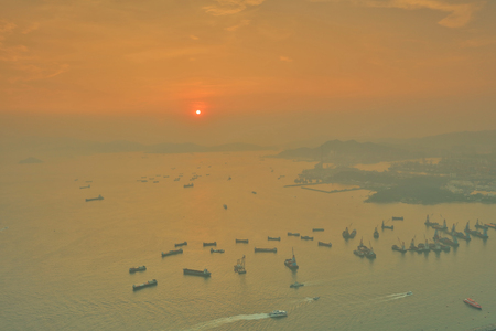the West Kowloon stonecutters bridge at sunset