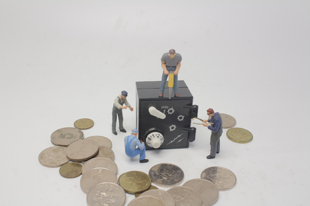 the fun of figure with the safe Stock Photo