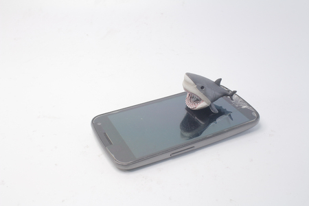 a tablet PC mobile with a shark